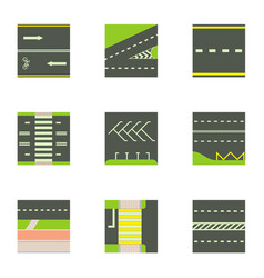 city road icons set cartoon style vector image