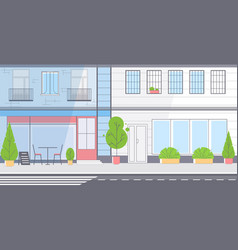 city street skyscraper buildings view modern vector image