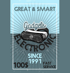 Color vintage electronic gadgets banner vector