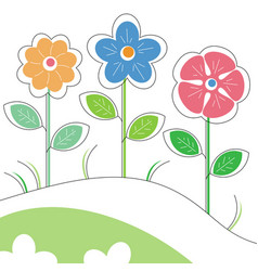 colored stylized flowers vector image