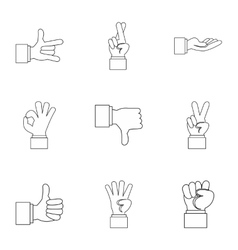 Communication gestures icons set outline style vector
