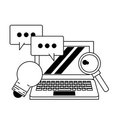 computer with speech bubble and light bulb black vector image