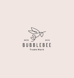 Continuous line bee logo hipster retro vintage vector