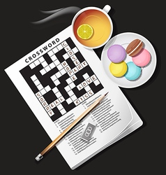 Crossword game with lemon tea and macaroons vector