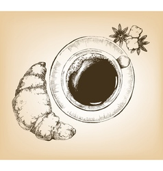 Cup of coffee and croissant vector