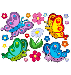 cute butterflies collection 2 vector image