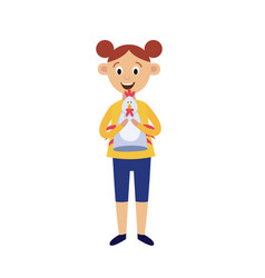 Cute little girl holding chicken hand puppet toy vector