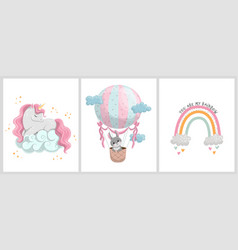 cute posters with sweet animals and balloon vector image