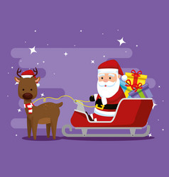 deer with santa claus in the sled and gifts vector image