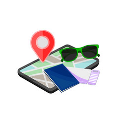 Digital tablet with map sunglasses notebook and vector