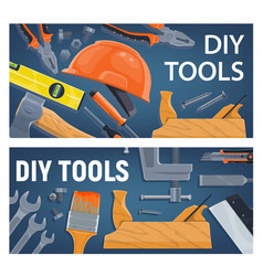 Diy construction tools and equipment vector