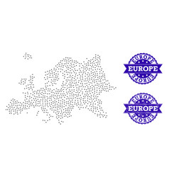 Dotted map of europe and grunge stamp collage vector