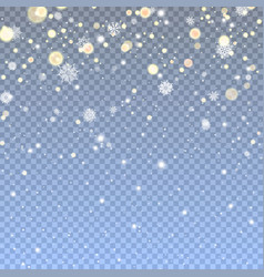 Falling snow in transparent background vector