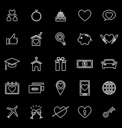 family line icons on black background vector image
