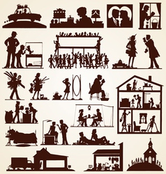 Family silhouettes set vector image
