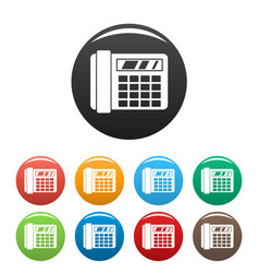 Fax telephone icons set color vector