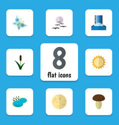 flat icon natural set of lunar cattail vector image
