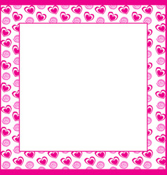 frame with rose hearts and spirals on white vector image