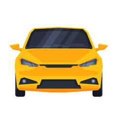 Front view yellow car urban city vehicle flat vector