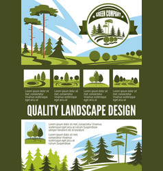 Garden and park landscape architecture poster vector