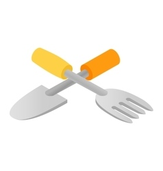 Garden spade and fork icon isometric vector