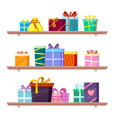 gifts on shelves greeting colored packages vector image