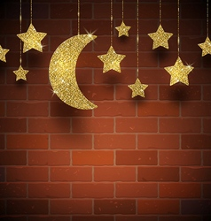 Glitter gold stars and moon on a brick wall vector