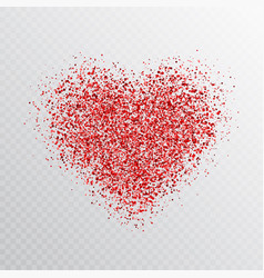 glitter red heart isolated on transparent vector image