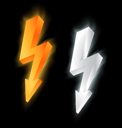 gold and silver lightning icon vector image