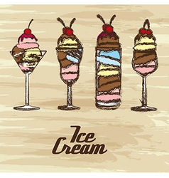 grunge edged ice creams on a cream background vector image