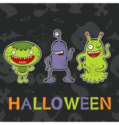 Halloween card with three funny monsters vector