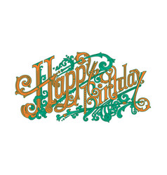 happy birthday vintage lettering logos vector image