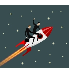 Happy businessmen flying on a rocket vector image