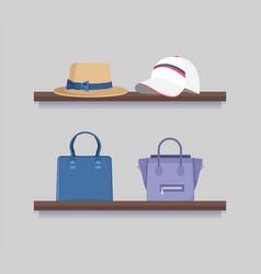 Headwear and handbags mode clothing collection vector