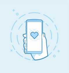 heart shape icon on smartphone screen vector image