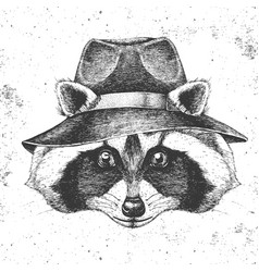 Hipster animal raccoon in hat hand drawing muzzle vector