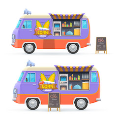 hot corn food truck isolated catering van vector image