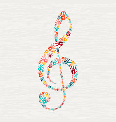 Human hand print music note shape concept vector