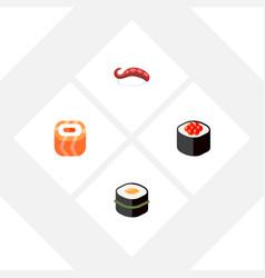 Icon flat sashimi set of seafood gourmet eating vector