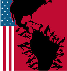 Immigration people silhouette moving to usa vector