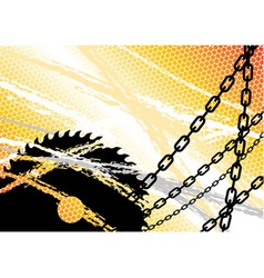 Industrial background with chain and saw vector