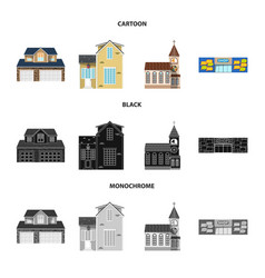 isolated object of building and front logo set of vector image