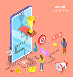 isometric flat concept of gamification vector image