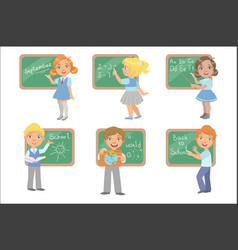 kids writing on blackboard set vector image