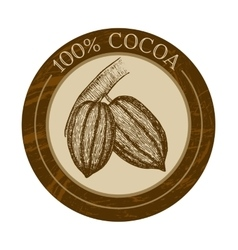 Label with cocoa beans vector