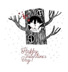 Lovers squirrel Big beautiful tree vector