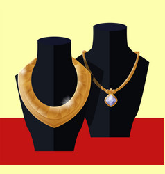 Luxury golden necklaces on black mannequins vector