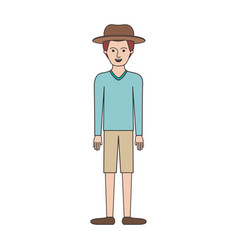 man with hat and sweater and short pants and shoes vector image