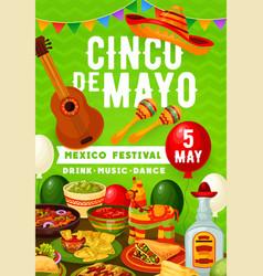 mexican fiesta cinco de mayo party food and drinks vector image