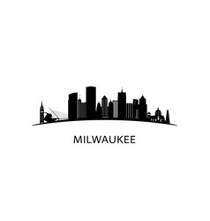 milwaukee city skyline black cityscape vector image